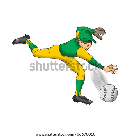 Image of a baseball player throwing a fastball. - stock photo