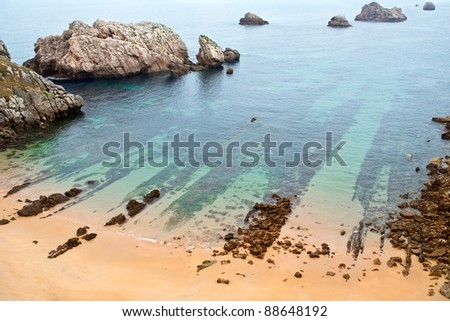Image of a beach in the Atlantic coast in Cantabria. - stock photo