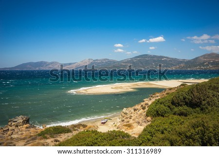 Image of a beautiful Golden sand beach, Evia, Greece
