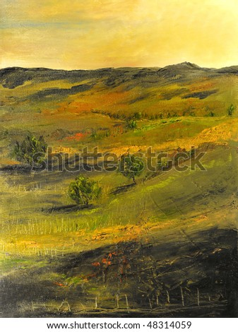 Image of a Beautiful landscape Oil Painting on Canvas - stock photo