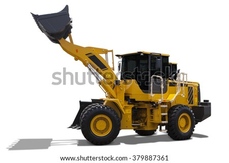 Image of a big backhoe loader with yellow color lifting a steel scoop, isolated on white background