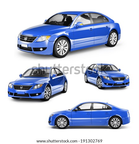Image of a Blue Car on Different Positions - stock photo