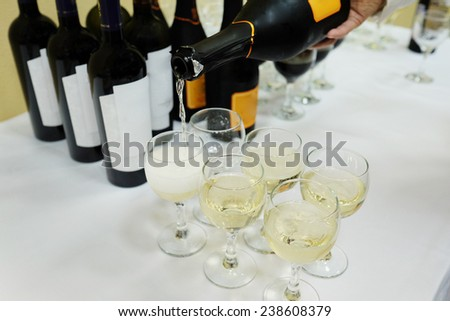 image of a bottle and wine glasses - stock photo