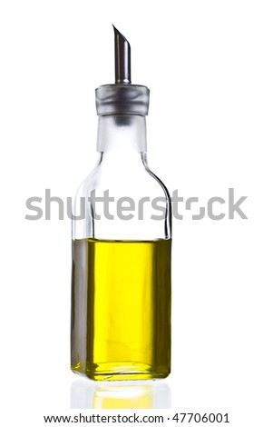 image of a bottle of  spanish biologic virgin olive oil isolated over a white background