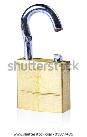Image of a broken gold lock with a white background - stock photo