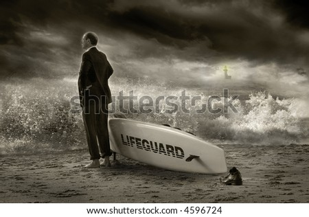 Image of a business lifeguard. - stock photo
