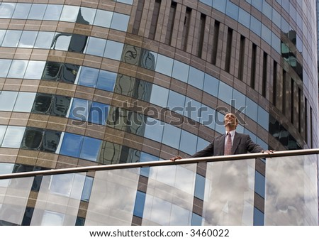 Image of a business man surveying the business scene - stock photo