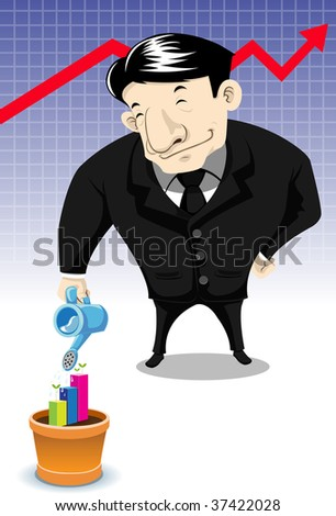 Image of a business man who invests his time an resource in stock and investing. - stock photo