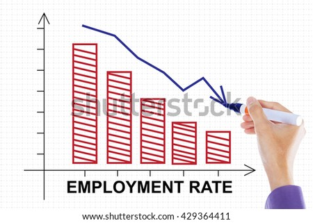 Image of a businessman hand make a declining chart of employment rate with downwards arrow on whiteboard - stock photo