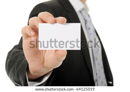 Image of a businessman holding a blank in the hand. Isolated on white background