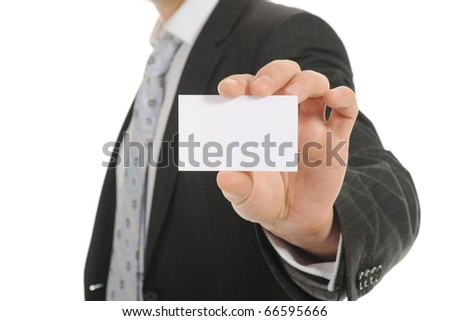 Image of a businessman holding a blank in the hand. Isolated on white background - stock photo