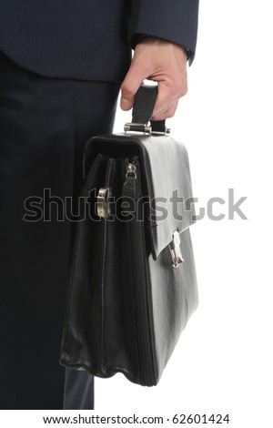 Image of a businessman holding a briefcase. Isolated on white background - stock photo