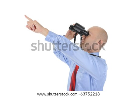 Image of a businessman looking up through binoculars. Isolated on white background - stock photo