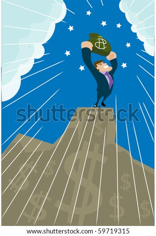 Image of a businessman who is celebrating his success from the top. - stock photo