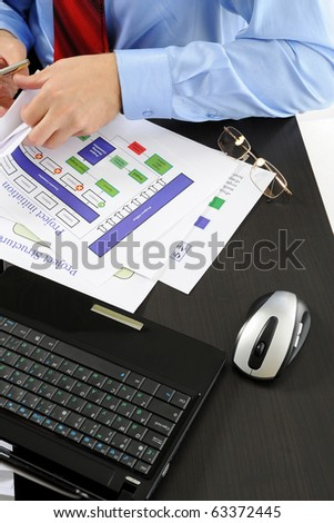 Image of a businessman working with documents in the office of the table