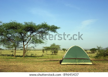 Image of a camping in savannah - stock photo