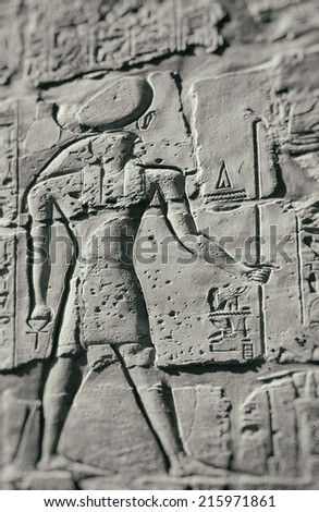 Image of a carving of ancient egyptian falcon god Horus. Karnak in Luxor, Egypt. Some added noise & dust.