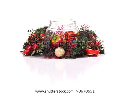 Image of a Christmas table wreath isolated on white.