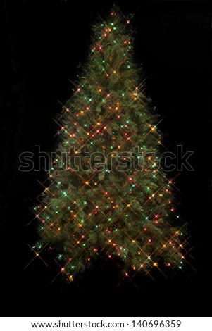 Image of a Christmas tree with cluster of colorful electric Christmas lights over a black background. - stock photo