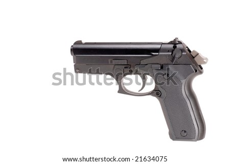 Image of a cocked Pistol isolated on white
