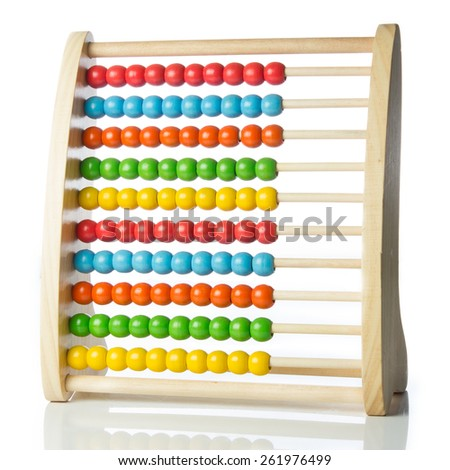 image of a colorful abacus toy isolated on white background  - stock photo