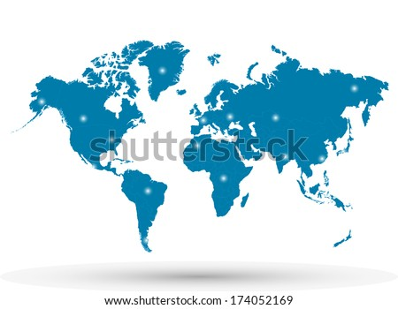 Image of a colorful blue world map with highlighted spots. - stock photo