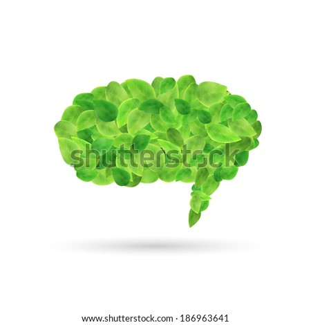 Image of a colorful, green chat bubble made with leaves isolated on a white background. - stock photo
