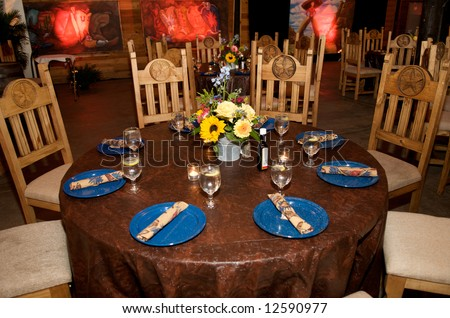 Image of a country barbeque theme table setting - stock photo
