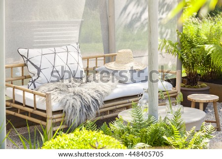 Image of a cozy garden seating area.  - stock photo