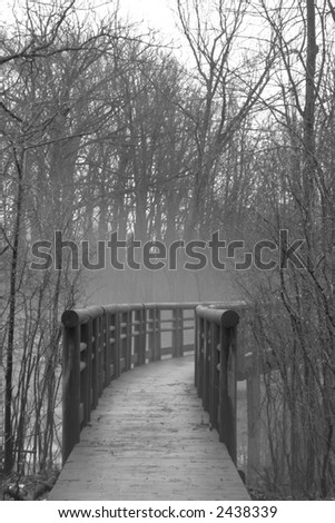 Image of a curving footbridge in a foggy forest - stock photo