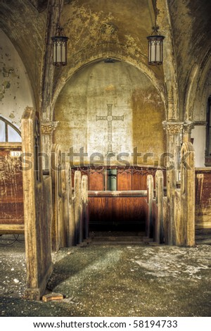 Image of a derelict abandoned church. - stock photo