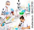 Image of a doctor working in labortory and different scientific equipment - stock photo
