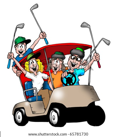 Image of a family playing golf, and riding in a golf cart together.