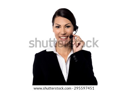Image of a female support staff posing over white - stock photo