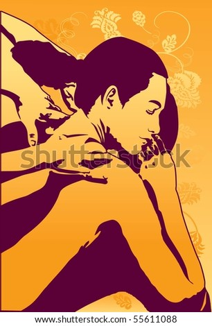 Image of a female who is getting a massage and feel very comfortable - stock photo