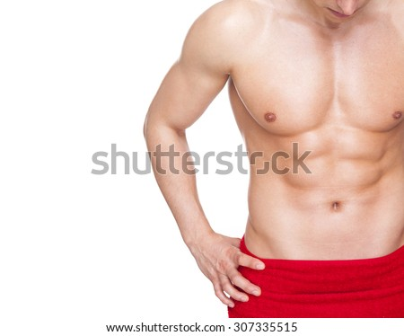 Image of a fitness man covered with red towel, isolated on white background