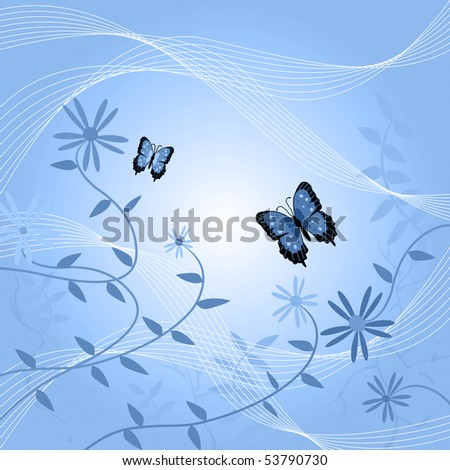 Image of a floral background with butterflies and leaves.