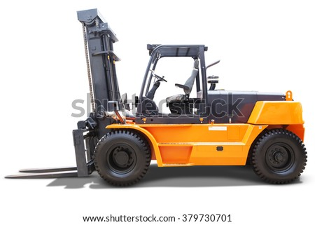 Image of a forklift truck with yellow color for industrial business, isolated on white background - stock photo