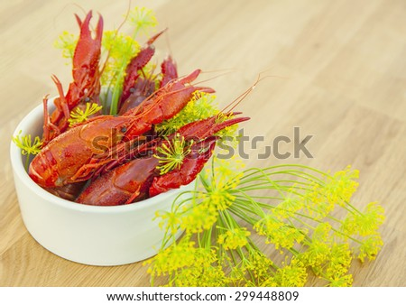 Image of a fresh crayfish meal.  - stock photo