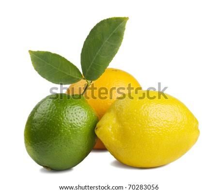image of a fresh whole lime,lemon and orange isolated on white - stock photo