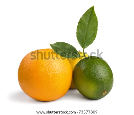image of a fresh whole lime,lemon and orange isolated on white