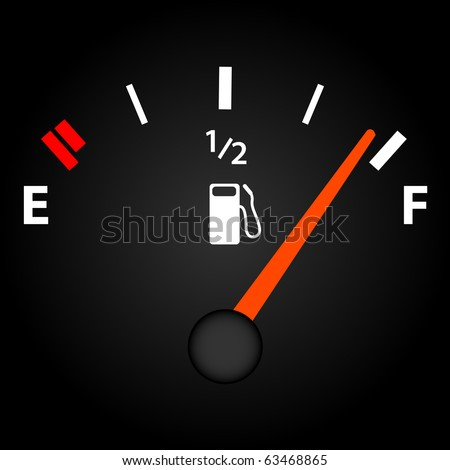 Image of a gas gage on a dark background. - stock photo