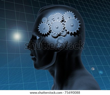 Image of a gears inside of a man's head with a blue grid background. - stock photo
