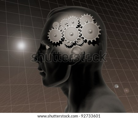 Image of a gears inside of a man's head with a grid background. - stock photo