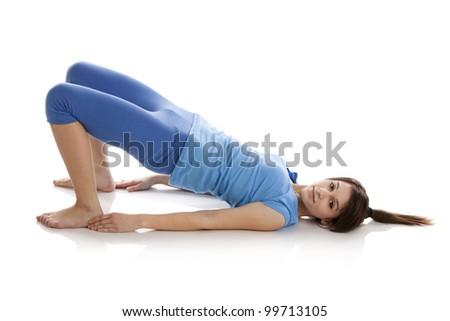pretty little girl doing gymnastics over stock photo