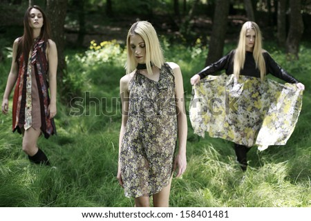 image of a girls posing in the green woods, beautiful girls in a tall forest grass  - stock photo