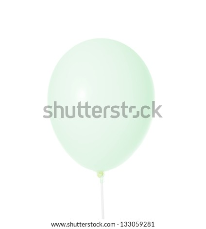 image of a green balloon. Isolated on white background - stock photo