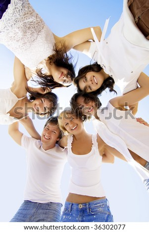 Image of a group of cheerful friends - stock photo