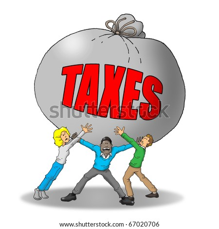 Image of a group of people being weighed down by to many taxes.