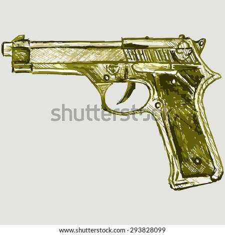 Image of a gun. Fire weapon. Raster version - stock photo